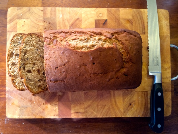 Mary Berry's Banana Loaf - sliced on wooden board