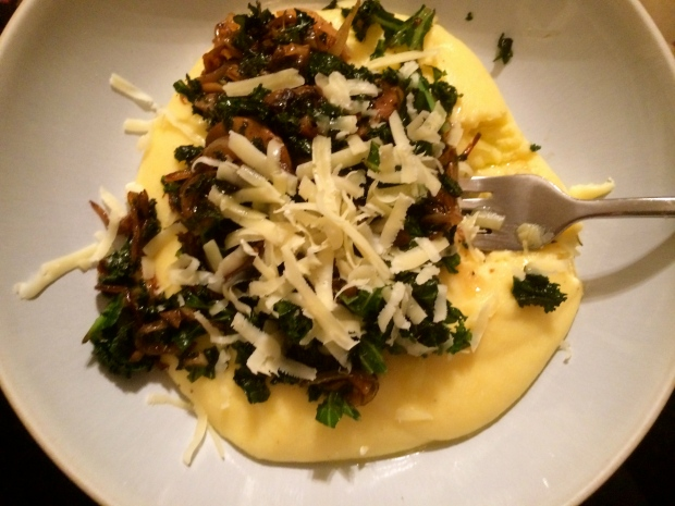 Creamy polenta with mushrooms and kale recipe