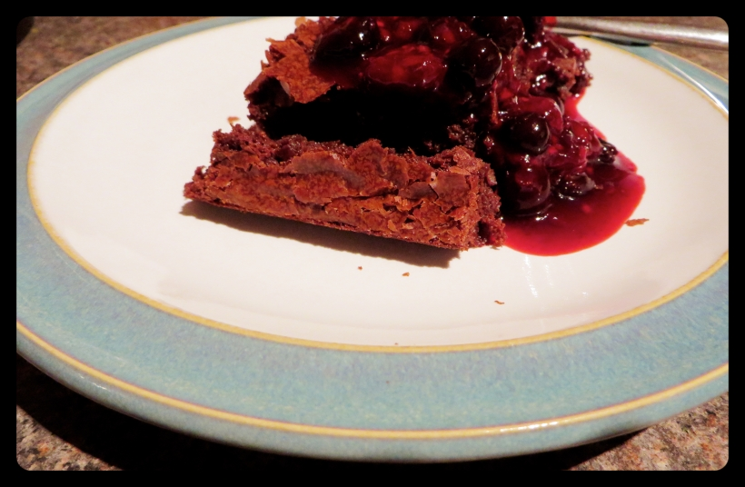 Fudgey Brownie with Berry Compote