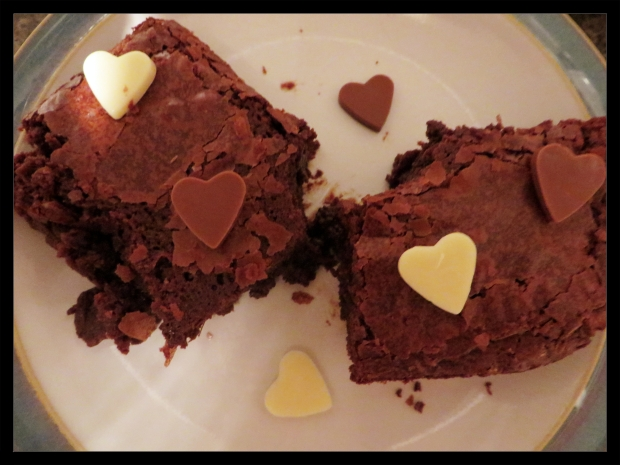 brownie without compote chocolate hearts