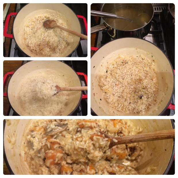 Butternut risotto cooking stages