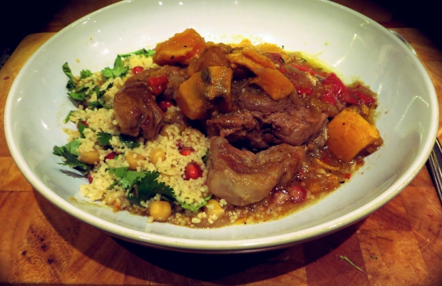 Lamb chop curry with jewelled cous cous