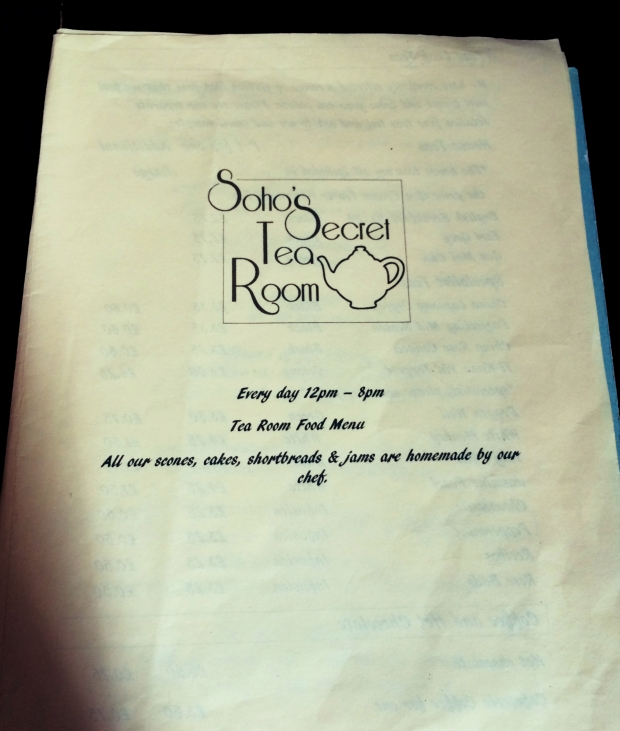 Soho Secret Tea Room menu cover