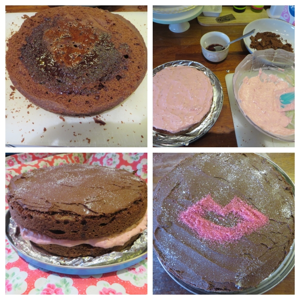 Chocolate lips cake construction stages