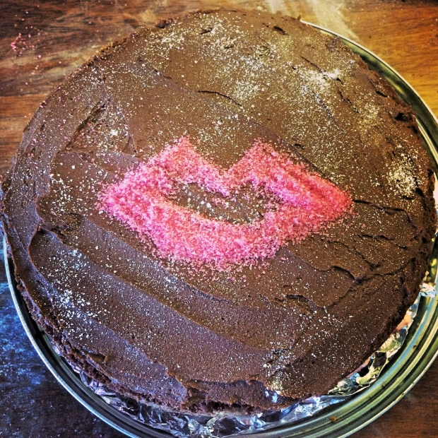 Finished iced and decorated chocolate lips cake